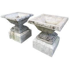 Pair of Magnificent Large French Stone Urns on Plinths