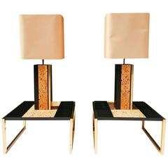 Rare Set of French 1970s Table Lamps and End Tables