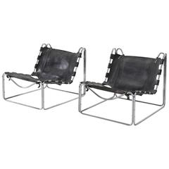 Olivier Mourgue Set of Two Black Leather Tubular Lounge Chairs