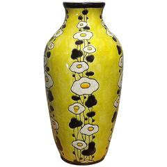 Hand-Painted Art Deco Floral Vase by Boch Freres Keramis