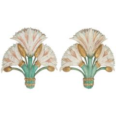 Pair of Exotic Asian Floral Carved Wood Wall Hangings