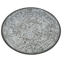 Egyptian Revival Brass Tray Overlay with Silver Designs and Hieroglyphics