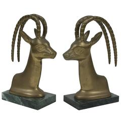 Set of Vintage Brass on Marble Antelope Bookends