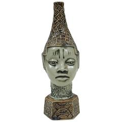 African Benin Queen Mother Commemorative Ceramic Head by the Edo people