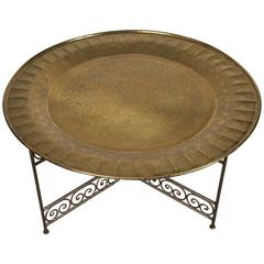 Moroccan Round Brass Tray Table on Iron Base