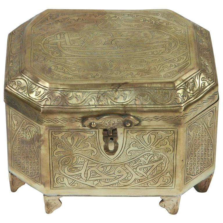 Antique Persian Islamic Brass Box with Calligraphy