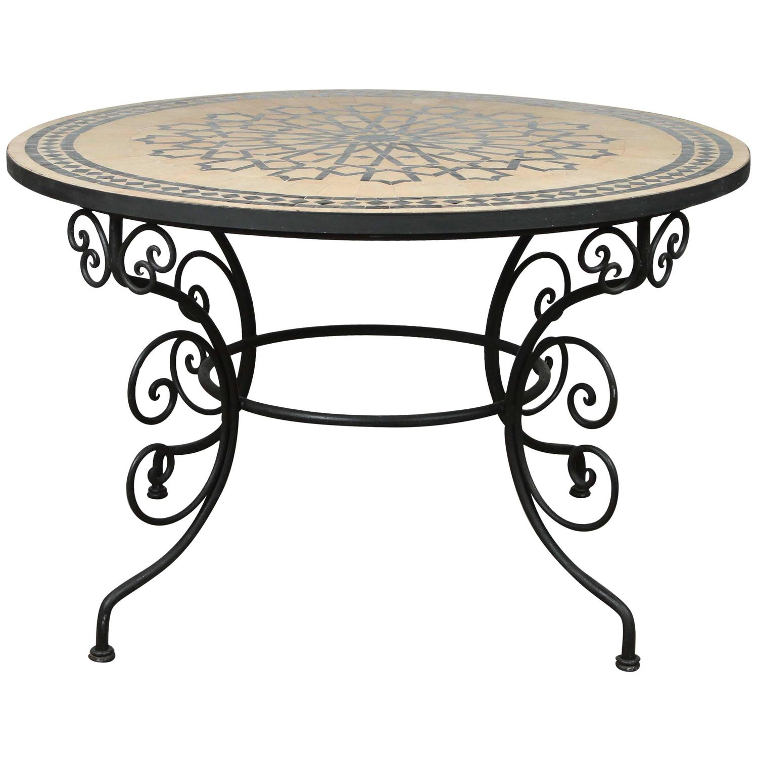 Fresh Moroccan Outdoor Round Mosaic Tile Dining Table on Iron Base 47 in  NT05