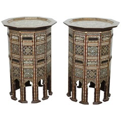Middle Eastern Moorish Side Tables Inlaid with Mother-of-Pearl