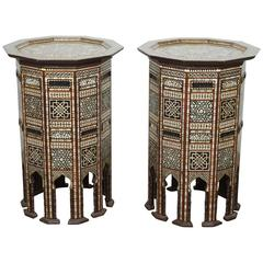 Pair of Fine Middle Eastern Moorish Side Tables Inlaid with Mother-of-Pearl