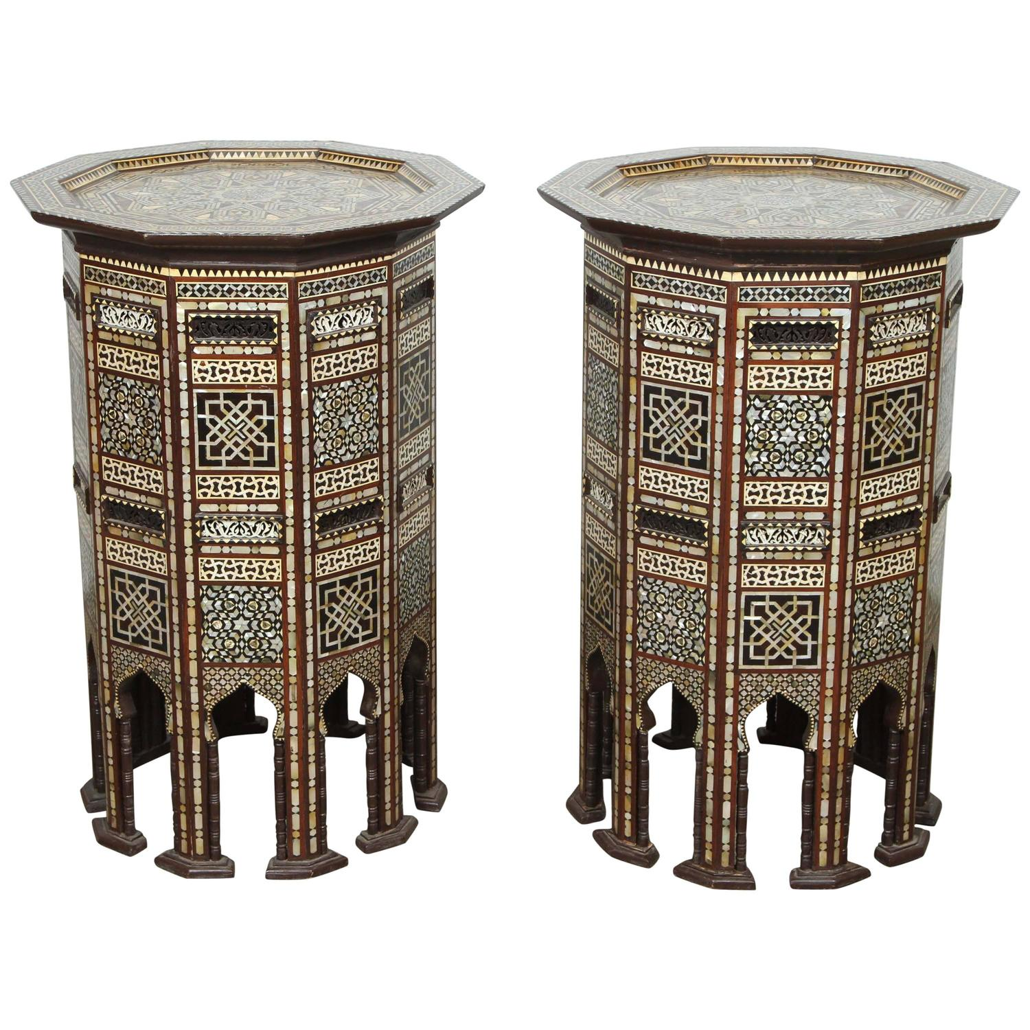 Pair Of Fine Middle Eastern Moorish Side Tables Inlaid With Mother Of Pearl For Sale At 1stdibs
