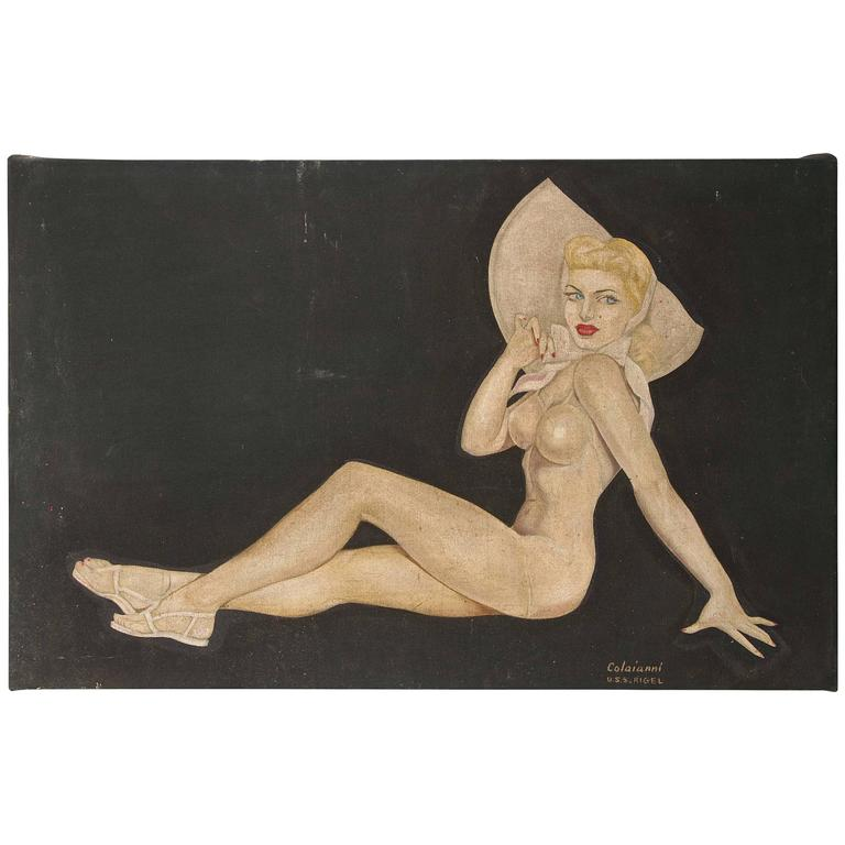 """Large Art Deco """"Trench Art"""" Pin-Up Painting, Oil on Heavy Cloth, Signed"""