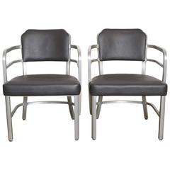 Machine Age Art Deco GoodForm Armchairs Brushed Aluminum, Leather