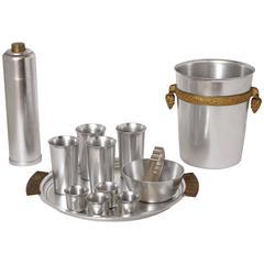 Collection Lurelle Guild Machine Age Aluminum Kensington Cocktail Serving Pieces