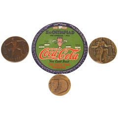 Vintage Art Deco Machine Age Cubist Olympic Games Medallions / Ephemera Coke