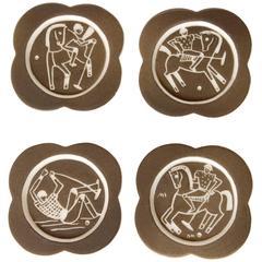 Waylande Gregory Studio Polo Player Art Deco Sgraffito Coasters