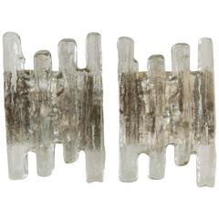 Large Kalmar Ice Glass Sconces