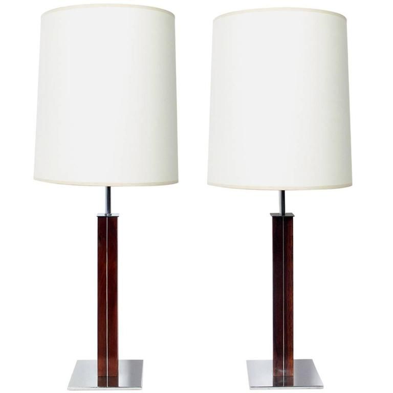 Pair of Clean Lined Architectural Lamps by Walter Von Nessen