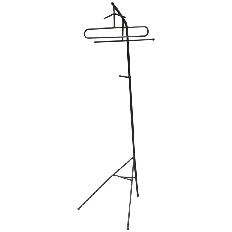 Mid-Century Modern Wrought Iron Modernist Hairpin Valet after Jacques Adnet For Sale