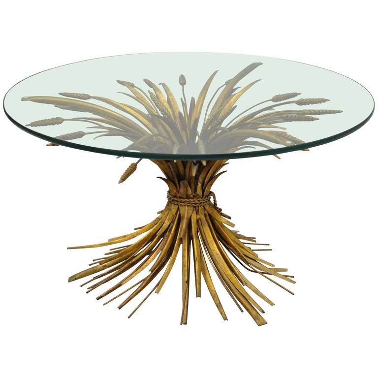 Captivating Italian Hollywood Regency Sheaf Of Wheat Gold Gilt Metal Coffee Table 1