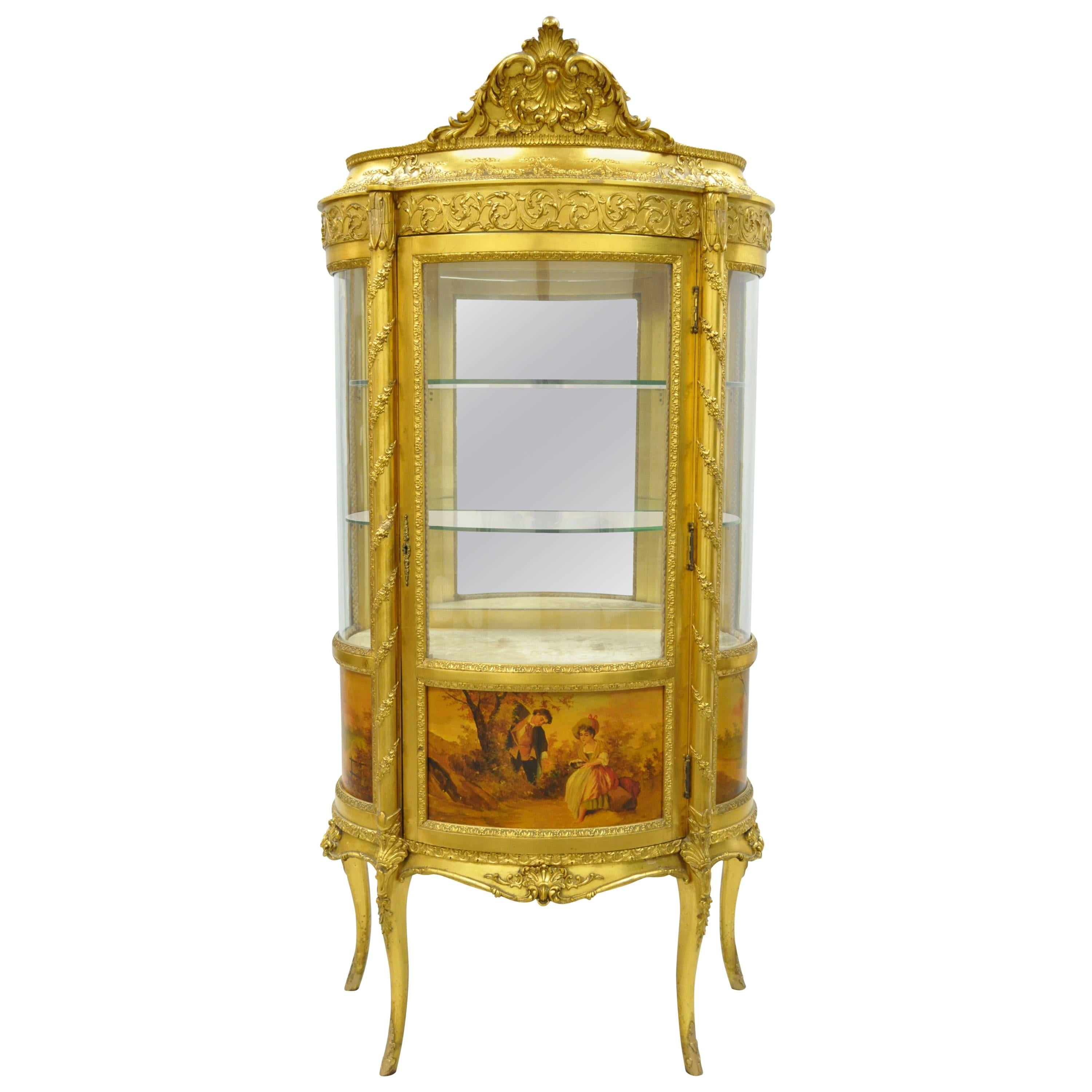 Small French Louis XV Style Gold Giltwood Curved Glass Vitrine Curio ...