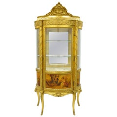 French Louis XV Gold Gilt Wood Vernis Martin Curved Glass Vitrine Curio Cabinet