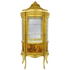 French Louis XV Gold Giltwood Vernis Martin Curved Glass Vitrine Curio Cabinet
