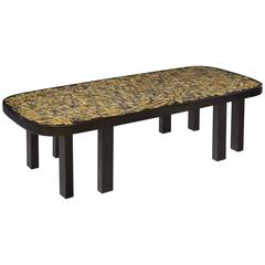 Important Black Resin and Tiger Eye Coffee Table by Etienne Allemeersch