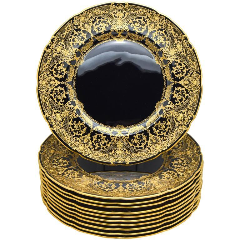 Set of Twelve Custom Order Lenox Black and Raised Paste Gold Dinner Plates For Sale  sc 1 st  1stDibs & Set of Twelve Custom Order Lenox Black and Raised Paste Gold Dinner ...