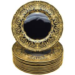 Set of Twelve Custom Order Lenox Black and Raised Paste Gold Dinner Plates