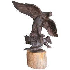 Early 20th C American Bronze Birds of Prey Sculpture