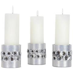 Trio of Brutalist Aluminum Candle Holders by Aluclair, Belgium