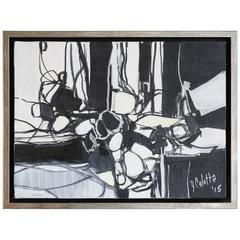 Abstract Line in Black and White Acrylic on Canvas by Joseph Culotta