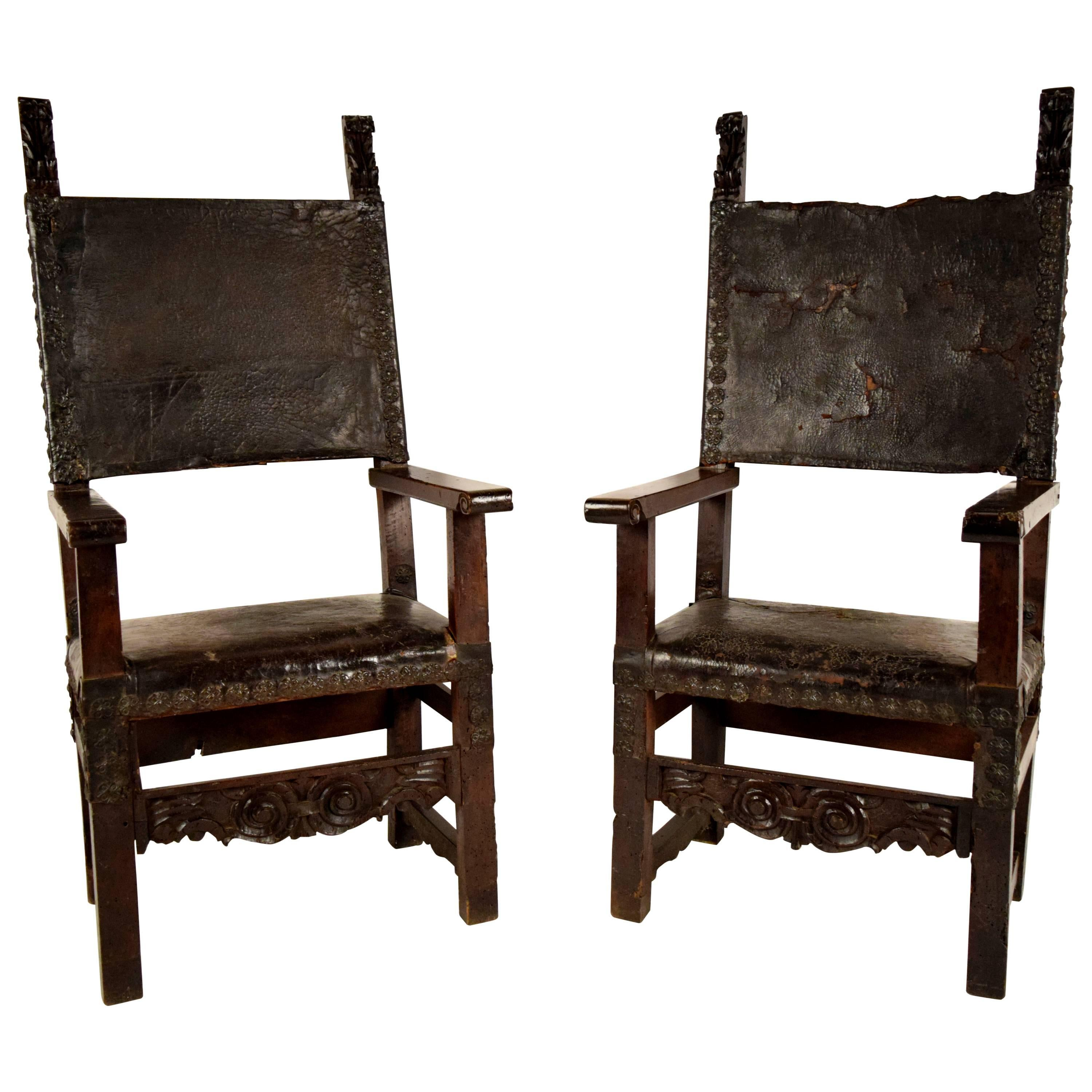 Pair of 18th Century Spanish Colonial Throne Chairs