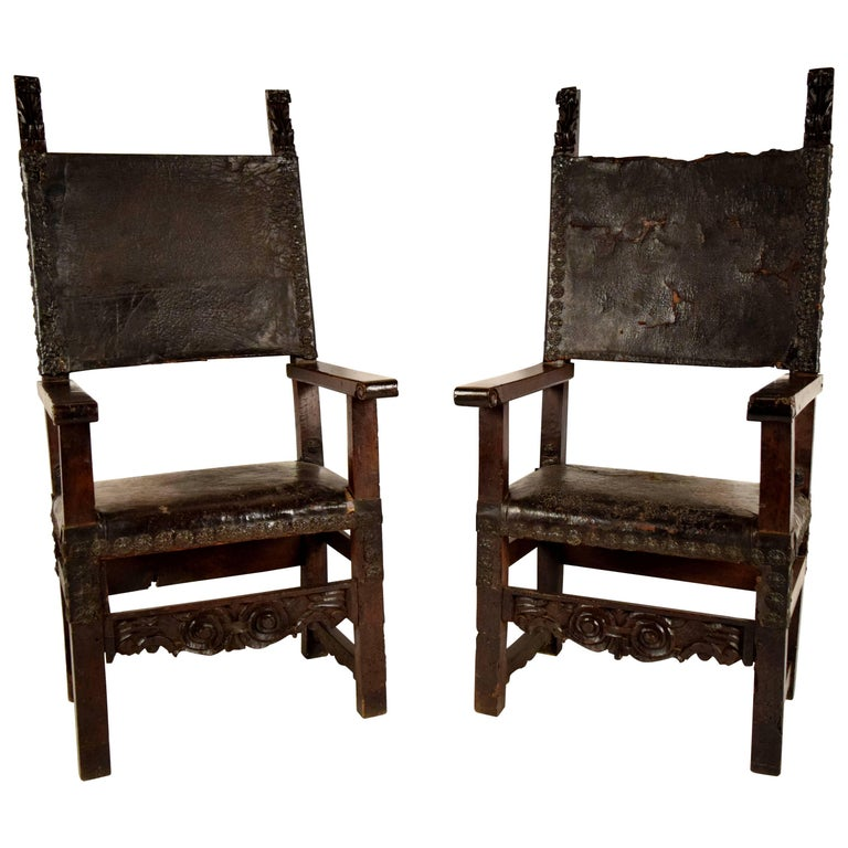 Pair of 18th Century Spanish Colonial Throne Chairs For Sale