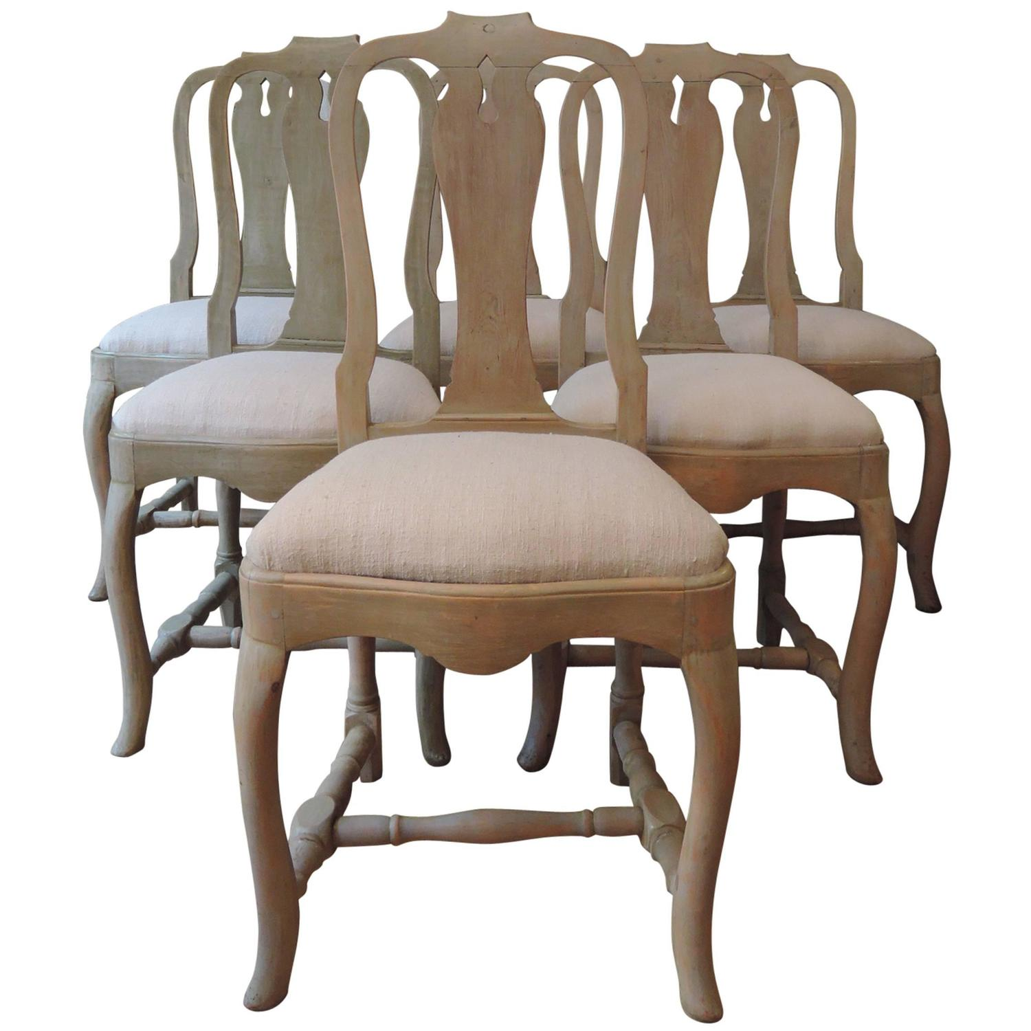 Set Of 12 Swedish Dining Chairs Rococo Style With Pale