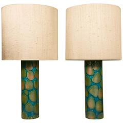 Pair of Amazing Table Lamps in Glazed Ceramic, Sweden, circa 1960