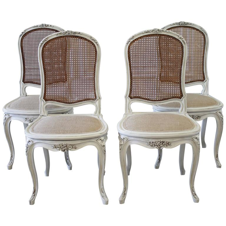 Set Of Four Louis XV Style French Painted Cane Back Dining Chairs 1