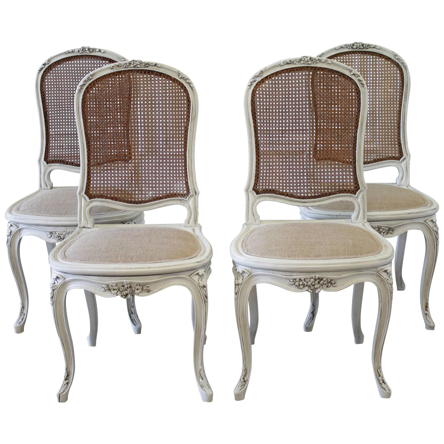 Set of Four Louis XV Style French Painted Cane Back Dining Chairs