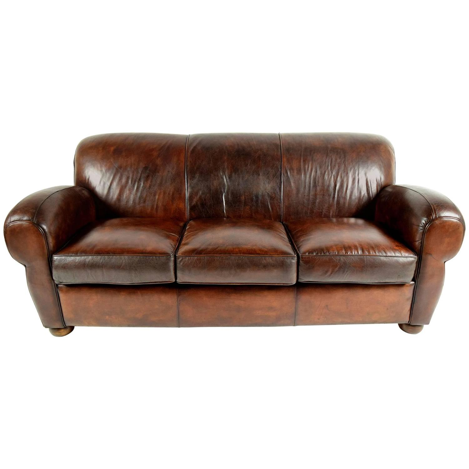 1970 39 S Vintage Club Distressed Leather Sofa For Sale At