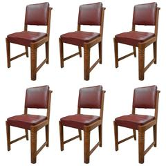 Charles Dudouyt, Set of Six Oak Chairs, 1940