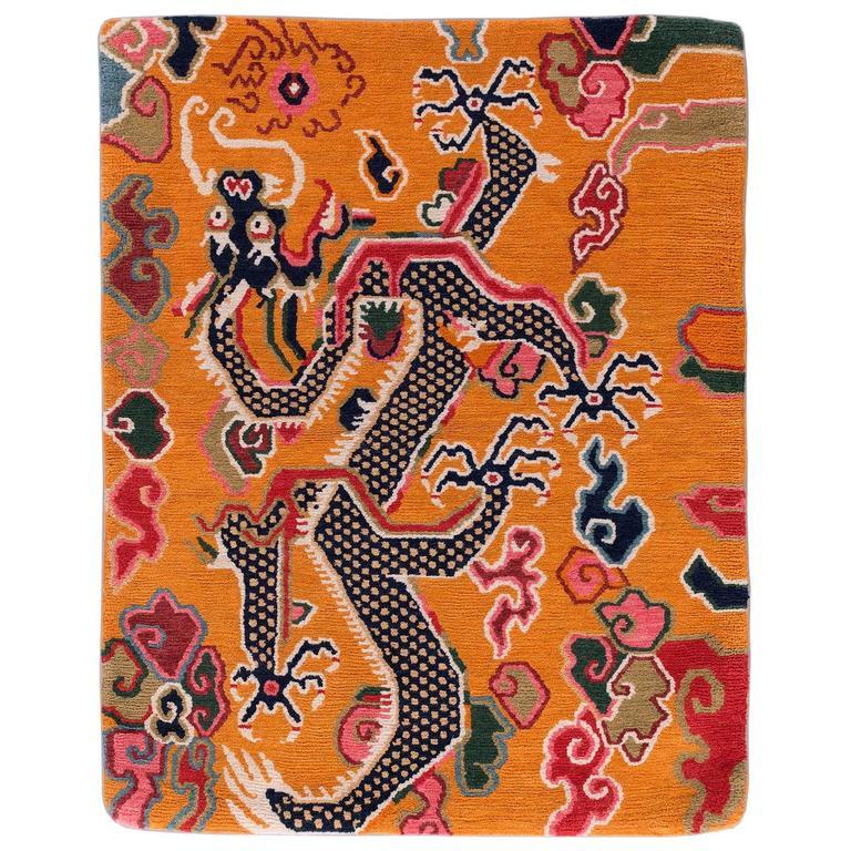Antique Tibetan Rug: Tibetan Dragon Rug With Natural Dyes For Sale At 1stdibs