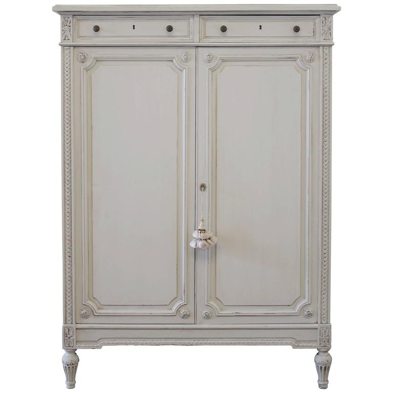 louis xvi french painted armoire chest of drawers at 1stdibs. Black Bedroom Furniture Sets. Home Design Ideas