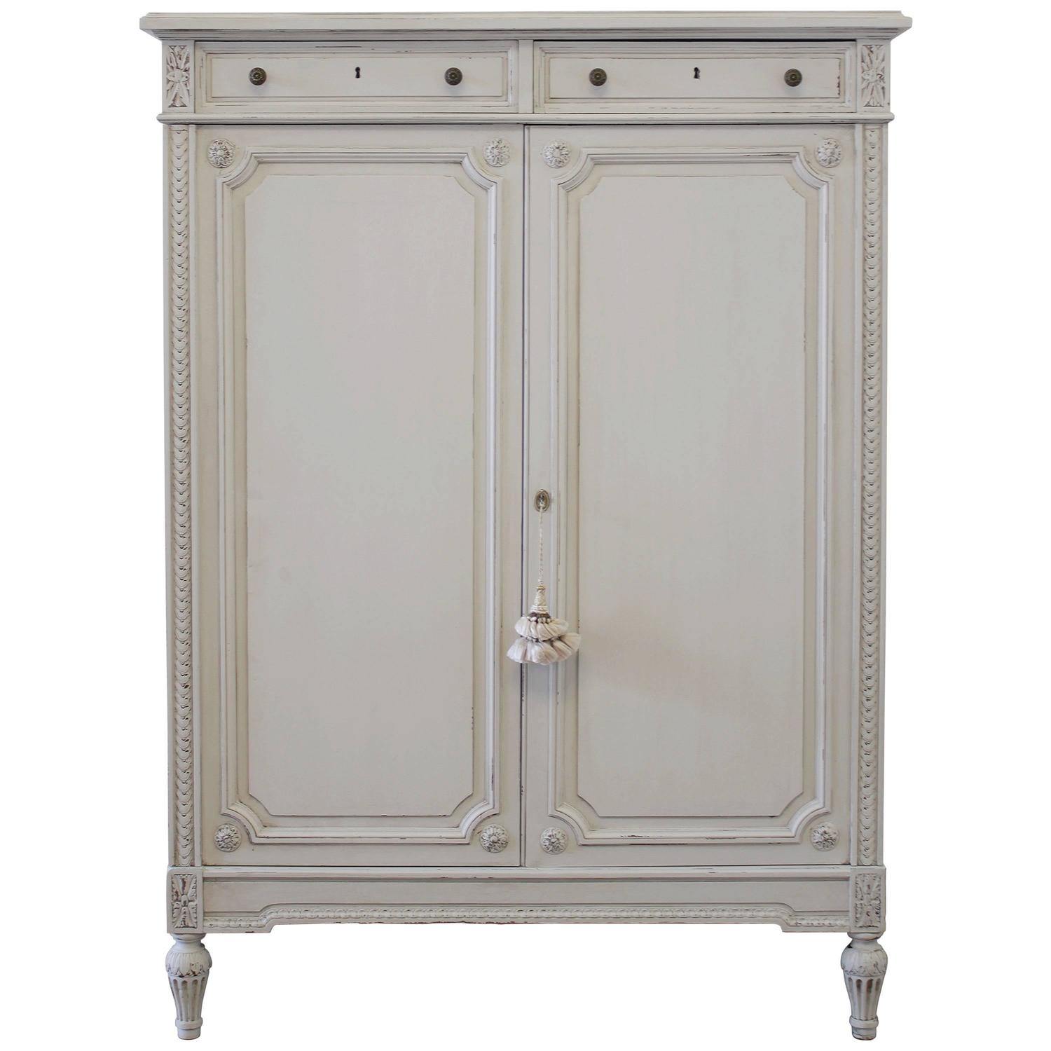 Louis XVI French Painted Armoire Chest Of Drawers At 1stdibs