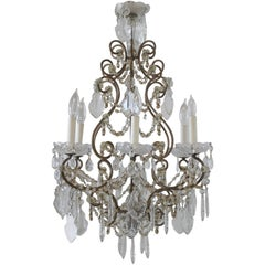 Antique French Macaroni Beaded Chandelier with Crystals