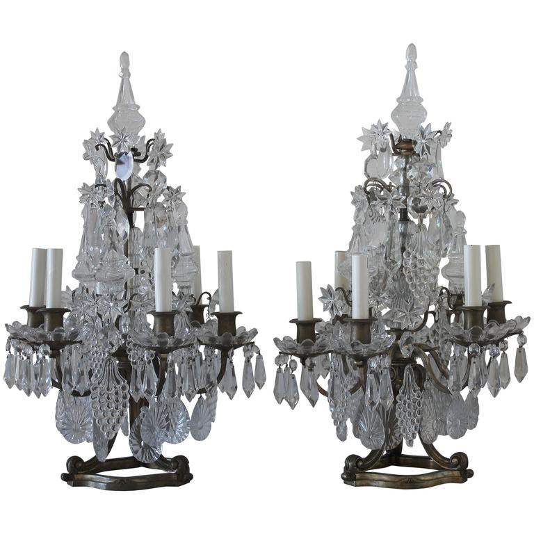 Pair of 19th Century Gilt Bronze and Crystal Candelabra