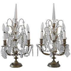 Pair of Brass and Crystal Girandole Lamps