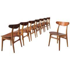Hans J. Wegner Set of Eight CH30 Chairs for Carl Hansen