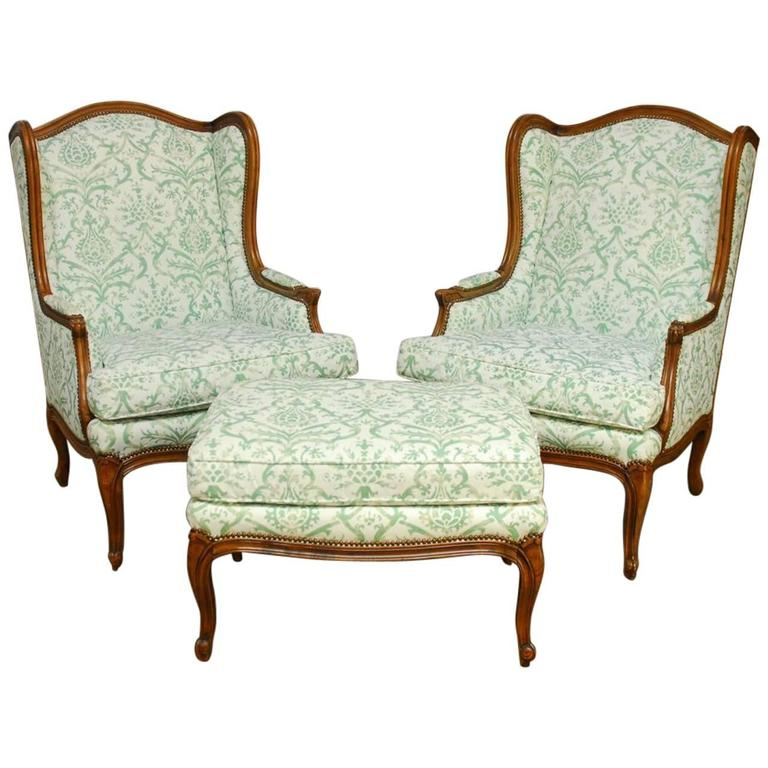 Pair Of Baker Wingback Chairs With Fortuny Upholstery At