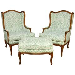 Pair of Baker Wingback Chairs with Ottoman