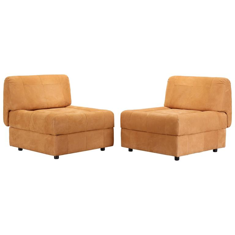 Pair of Suede Leather Lounge Chairs by Lafer, 1970